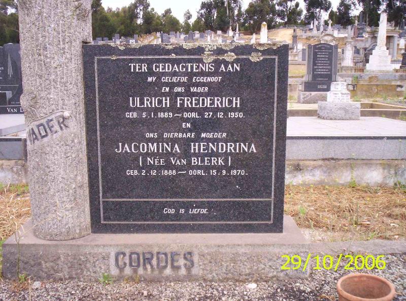 Jacomina Hendrina Cordes 1888-1970