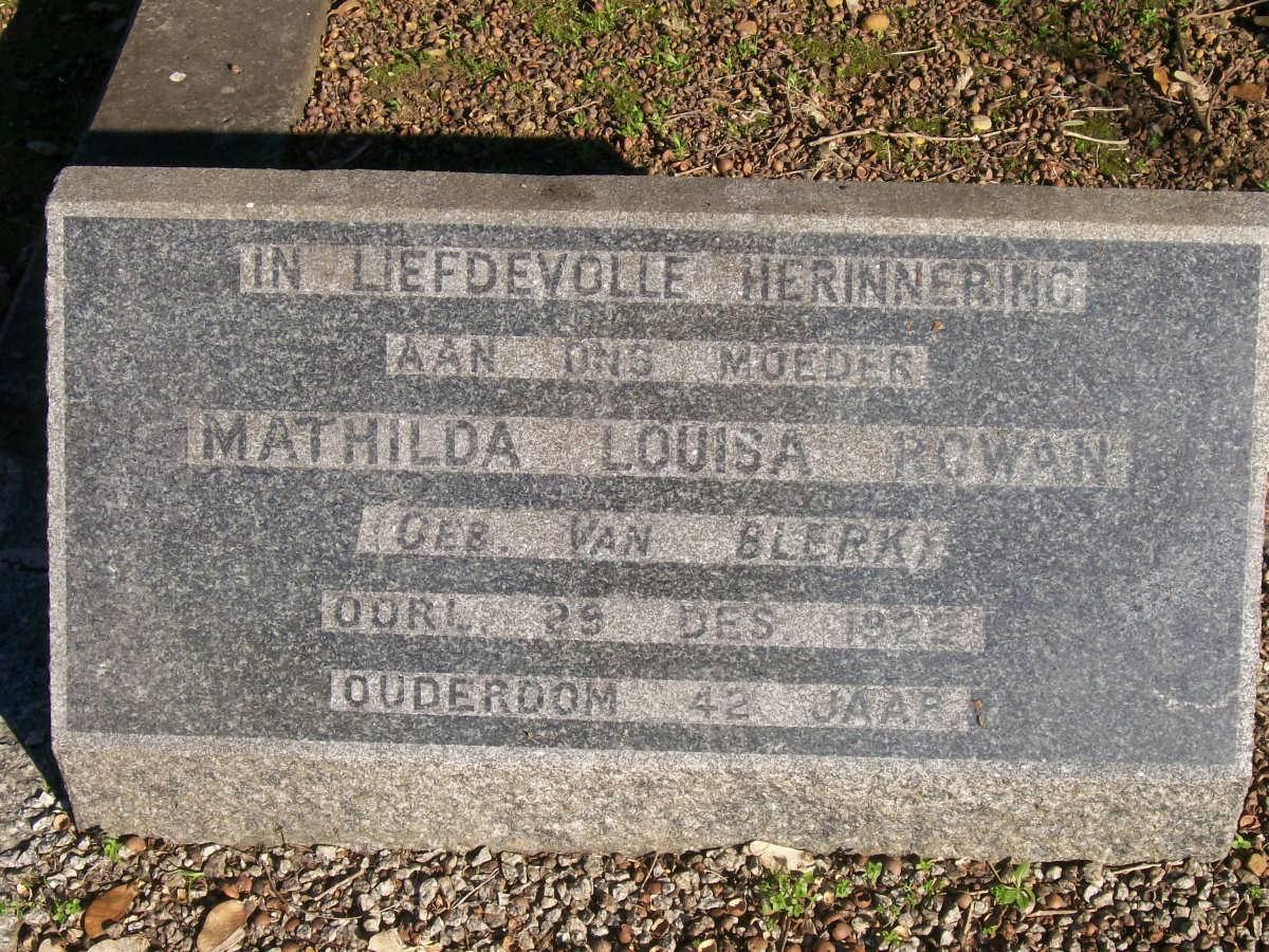 Mathilda Louisa Rowan 1887-1929
